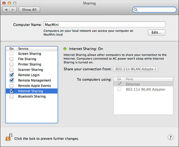 Mountain Lion 'Internet Share' Activate Sharing