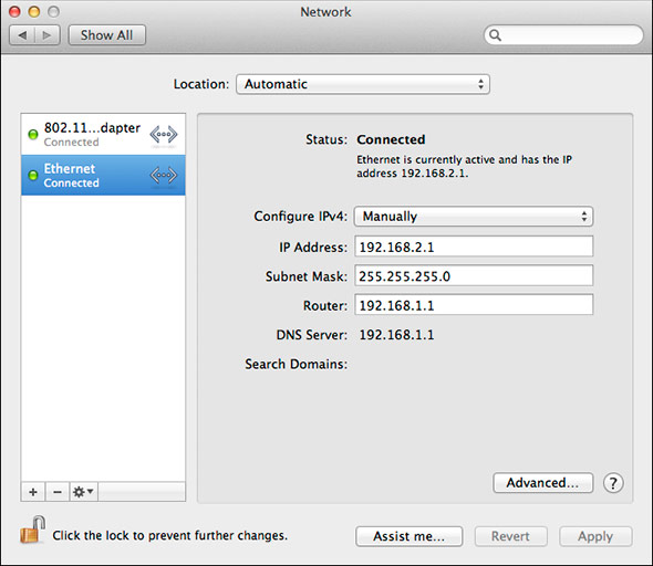 Mountain Lion 'Internet Share' Ethernet Setup