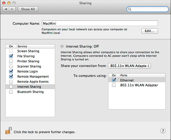 Mountain Lion 'Internet Share' Set Connections