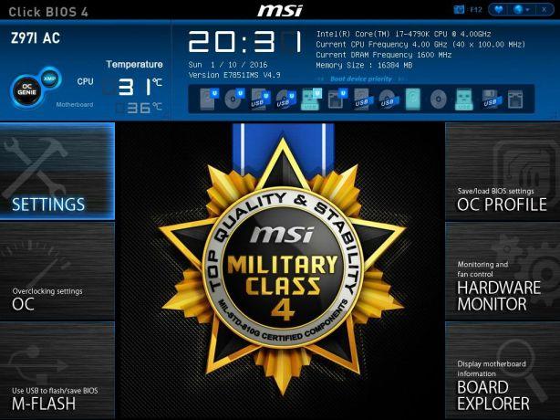 MSI BIOS Screen