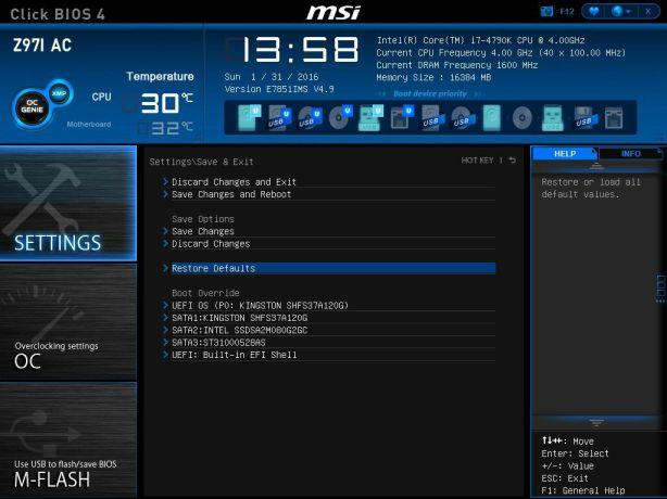 MSI Restore Defaults Select