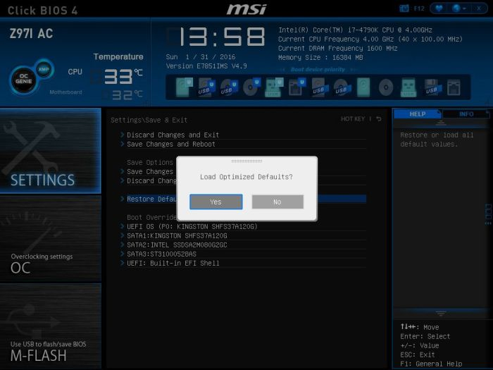 MSI Load Defaults