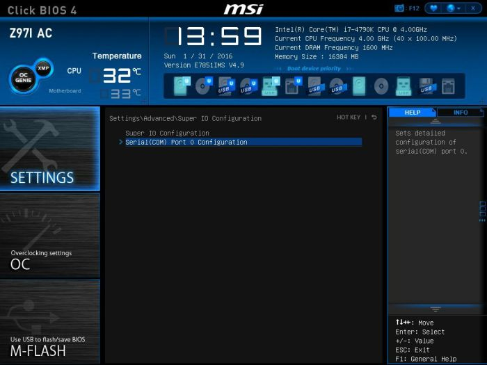 MSI Serial COM Configuration Select