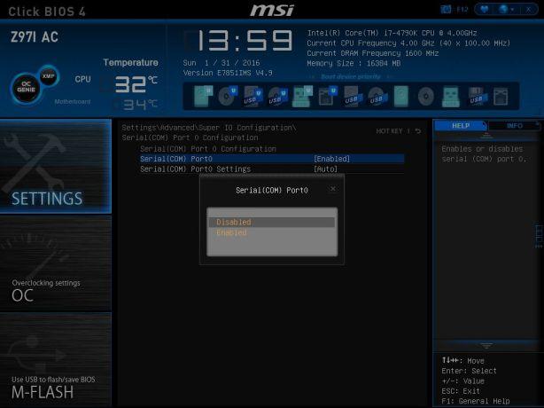 MSI Serial COM Port Select