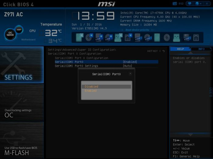 MSI Serial COM Port Select