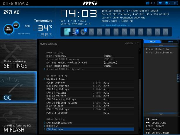 MSI CPU Features Select