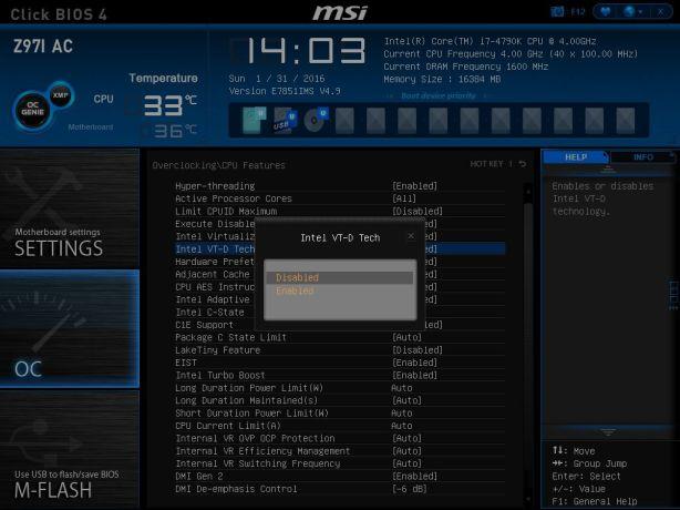 MSI Intel VT-d Disable