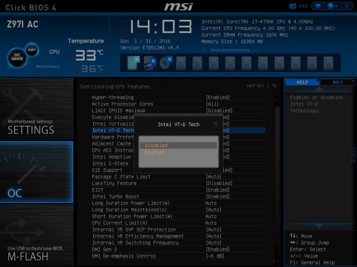 MSI Intel VT-d Disable