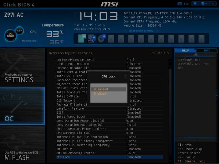 MSI CFG Lock Disable