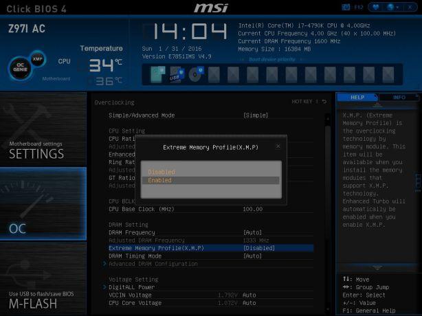 MSI 12 XMP Profile Select