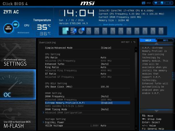 MSI XMP Profile Enabled
