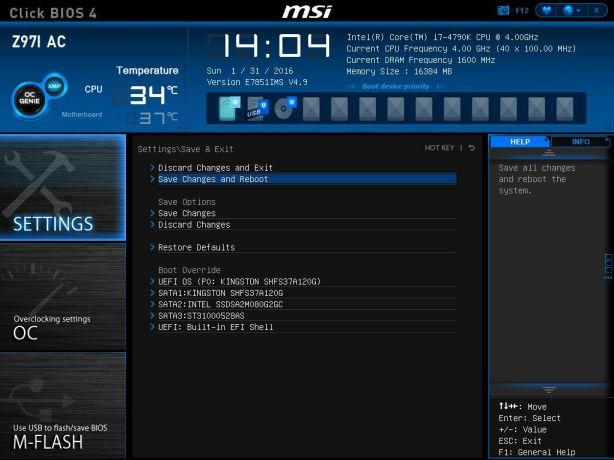 MSI Save And Reboot